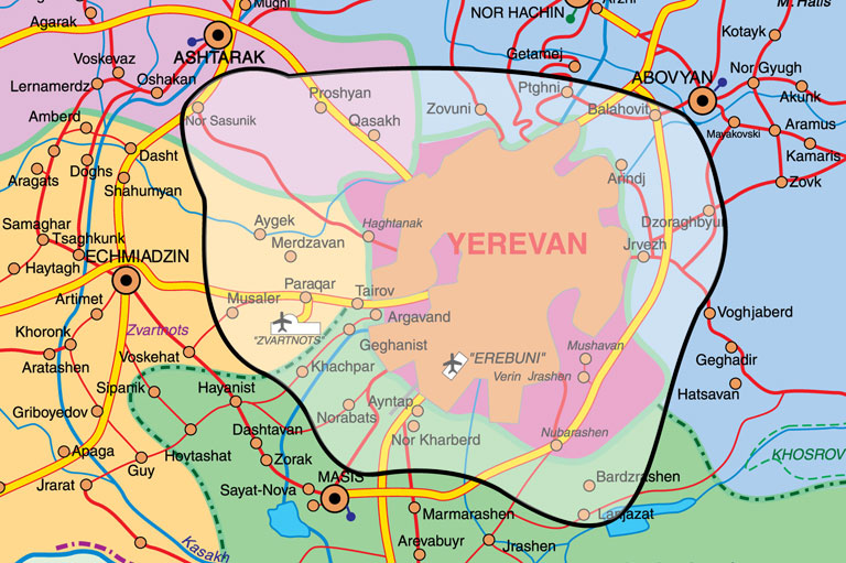 Dialect Prepaid Tariff Plans VivaCellMTS - yerevan map